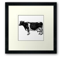 Vintage Cattle Side View (no grass) woodcut style Framed Print