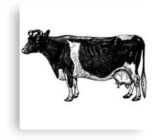Vintage Cattle Side View (no grass) woodcut style Canvas Print