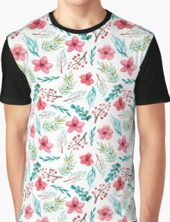 Watercolor Red Flowers, Berries and Blue Leaves Graphic T-Shirt