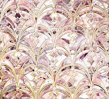 Dusty Rose and Coral Art Deco Marbling Pattern by micklyn