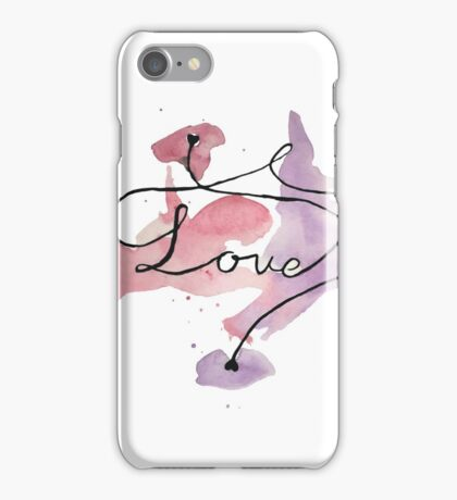 Love watercolour writing with hearts iPhone Case/Skin