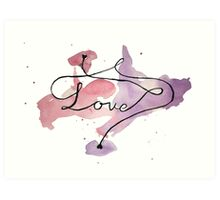Love watercolour writing with hearts Art Print