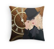 Mystery Clock Chick Throw Pillow