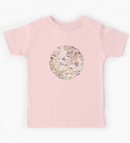 Dusty Rose and Coral Art Deco Marbling Pattern Kids Tee