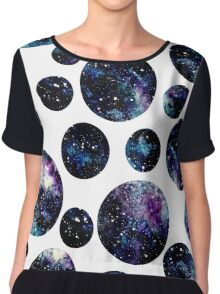 Watercolor Outer Space in Circles Chiffon Top