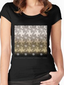 Modern,gold,silver,bronze,floral,flowers,contemporary art Women's Fitted Scoop T-Shirt