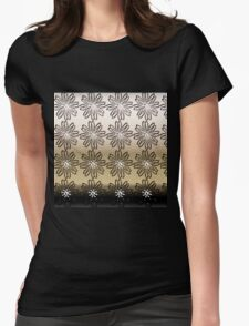 Modern,gold,silver,bronze,floral,flowers,contemporary art Womens Fitted T-Shirt