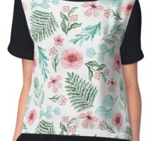 Watercolor Gentle Pink Flowers And Green Leaves Chiffon Top