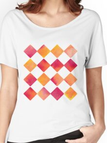 Watercolour Ink Quadrats - Square - Diamond - Raute - Quadrat [Pattern] Women's Relaxed Fit T-Shirt