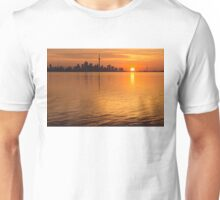 Fiery Toronto Skyline with the Sun Sliced in Half Unisex T-Shirt