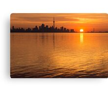 Fiery Toronto Skyline with the Sun Sliced in Half Canvas Print
