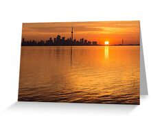 Fiery Toronto Skyline with the Sun Sliced in Half Greeting Card