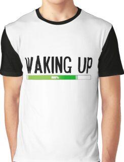Funny Morning Sleepy Waking Up Loading Coffee Design Graphic T-Shirt