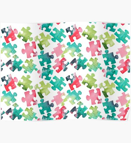 Watercolour Jigsaw Puzzle Pattern Poster