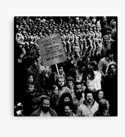 Protest March Against Pasturized Processed American Cheese. Canvas Print