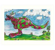 Prue the Pink Kangaroo Art Print