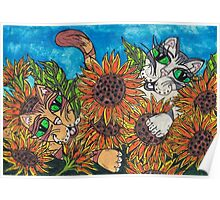 Sunflower Cats Poster