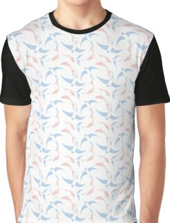 Koi and Swallow Pattern Graphic T-Shirt