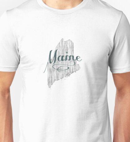 Maine State Typography Unisex T-Shirt