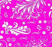 Venetian Ornament Antique Damask Pink, White by sitnica
