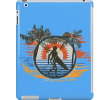 Surfing - Summer Sun and Palm Trees and Paint Brushes iPad Case/Skin