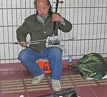 Erhu player, Beijing Metro, China by Philip Mitchell