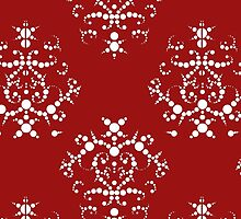 Victorian Damask, Ornaments, Swirls - Red White  by sitnica