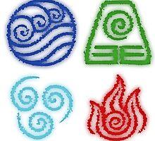 Glowing 4 elements: Avatar Legend of Aang by lonelycubone