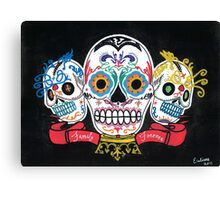 """Sugar Skulls 3 Brothers """"Family Forever"""" Canvas Print"""