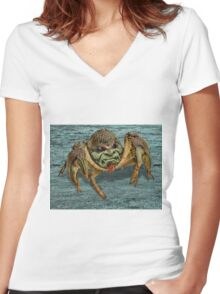 Crabby Cancer Crab Women's Fitted V-Neck T-Shirt
