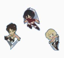 Attack on Titan Eren, Mikasa, Armin by toifshi
