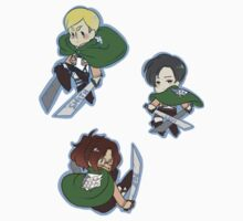 Attack on Titan Levi, Hange, Erwin by toifshi