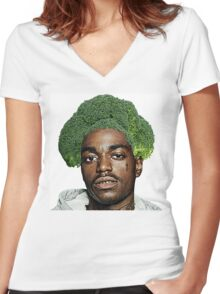 Kodak Black Broccoli Head Women's Fitted V-Neck T-Shirt