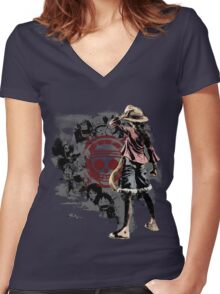 One piece - Straw Hats Women's Fitted V-Neck T-Shirt