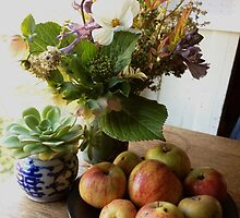 Garden Bouquet with Apples by Barbara Wyeth