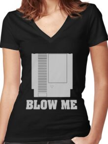 ~ Blow Me Cardtridge ~ Women's Fitted V-Neck T-Shirt