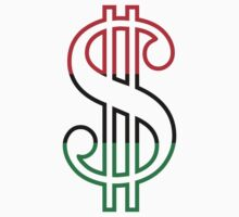 Red, Black & Green Dollar Sign One Piece - Short Sleeve