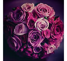 Wedding flowers. Pink and red roses. Vintage colors. Photographic Print