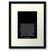 """Bright Star"" - a sonnet by John Keats; especially good as a card. Framed Print"