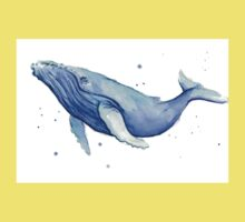 Humpback Whale Blue Watercolor Painting Kids Tee