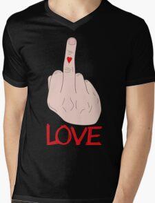LOVE - Finger Mens V-Neck T-Shirt