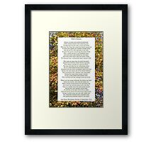 """Ode to Autumn"" by Keats, especially good as a card. Framed Print"