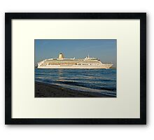 P&O's Aurora leaving Southampton Water, southern England Framed Print