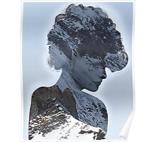 Woman Thinnking of a Snowy Mountain Poster