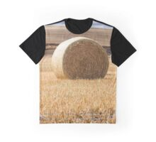 Photo of Wheat Bale Against Blue Sky Graphic T-Shirt