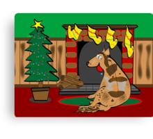 Koolie Christmas Card: Waiting for Santa Canvas Print