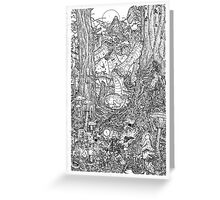 The Rock on Monster Island B/W Greeting Card