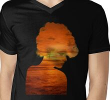 Woman immersed in the sunset.  Mens V-Neck T-Shirt