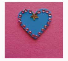 Blue Love Heart Decorated on Pink Background Kids Tee