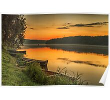 River in sunset Poster